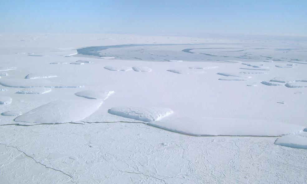 "One of several aerial shots taken from the AS350 Squirrel. Photo Credit: NSIDC Courtesy Tony Worby (<a href=""/cryosphere/gallery/photo/33305"">View photo detail.</a>) <br>"