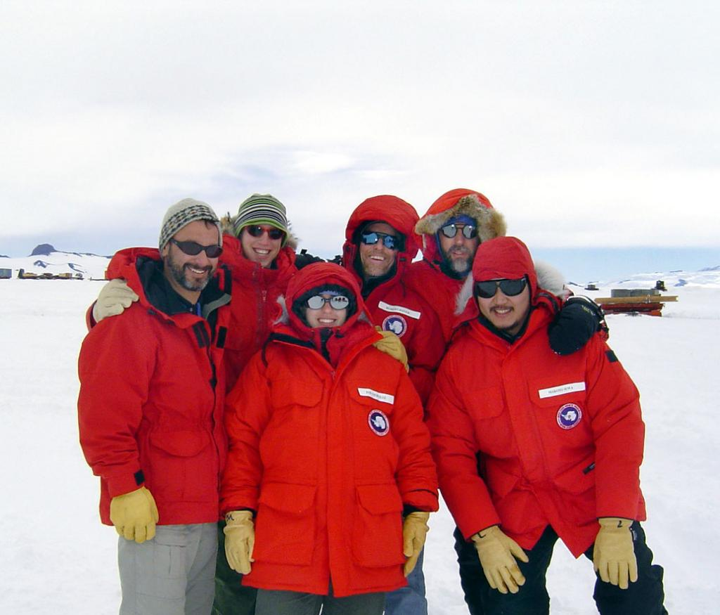 "The team right and ready for season two of Megadunes.From left, clockwise: Ted Scambos, Mac Cathles, Rob Bauer, Terry Haran, Makoto Suwa, Zoe Courville. Image Credit:  Courtesy Ted Scambos and Rob Bauer, NSIDC  <a href=""http://nsidc.org/antarctica/megadunes/"">Megadunes Web site</a> (<a href=""/cryosphere/gallery/photo/33022"">View photo detail.</a>) <br>"