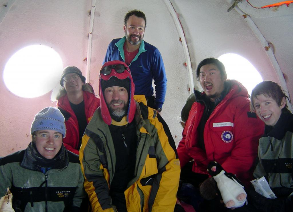 "The crew of the second season of Megadunes.From rear-left, clockwise: Jeff Severinghaus, Ted Scambos, Makoto Suwa, Mac Cathles, Terry Haran, Zoe Courville. Image Credit:  Courtesy Ted Scambos and Rob Bauer, NSIDC  <a href=""http://nsidc.org/antarctica/megadunes/"">Megadunes Web site</a> (<a href=""/cryosphere/gallery/photo/33061"">View photo detail.</a>) <br>"
