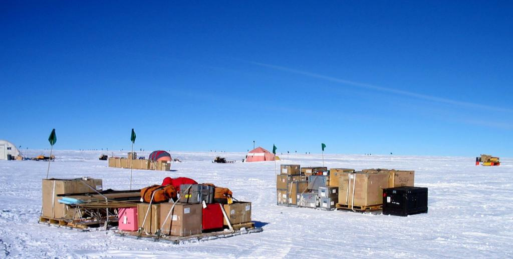 "All of the gear and the equipment packed up and ready to be shipped out. Image Credit:  Courtesy Ted Scambos and Rob Bauer, NSIDC  <a href=""http://nsidc.org/antarctica/megadunes/"">Megadunes Web site</a> (<a href=""/cryosphere/gallery/photo/33068"">View photo detail.</a>) <br>"