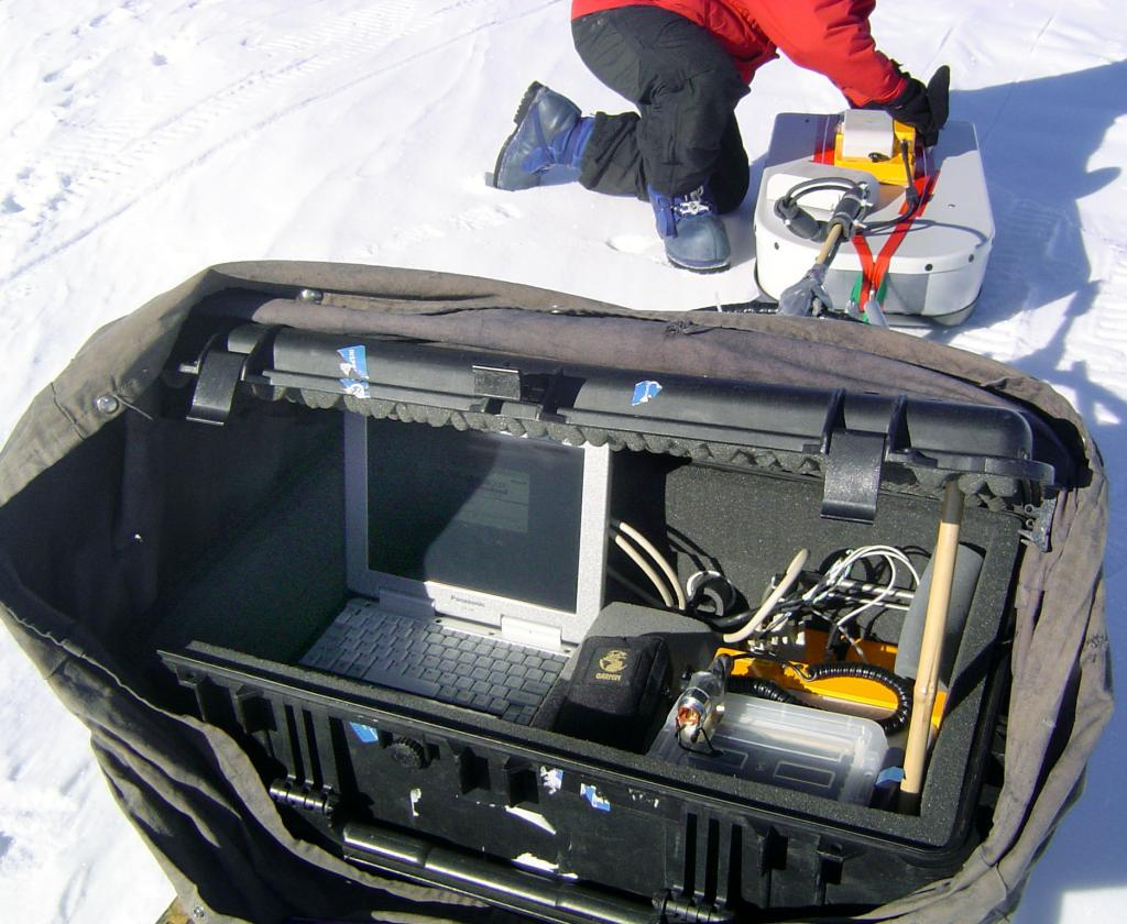 "The contents of the case connected to the GPR/GPS, including a running heavy-duty laptop. Image Credit:  NSIDC courtesy Ted Scambos and Rob Bauer. (<a href=""/cryosphere/gallery/photo/33075"">View photo detail.</a>) <br>"