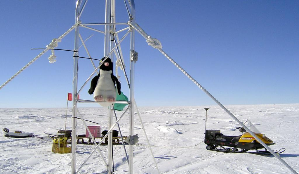 "This is one in a series of photos of Pengy the stuffed penguin. Image Credit:  NSIDC courtesy Ted Scambos and Rob Bauer. (<a href=""/cryosphere/gallery/photo/33086"">View photo detail.</a>) <br>"