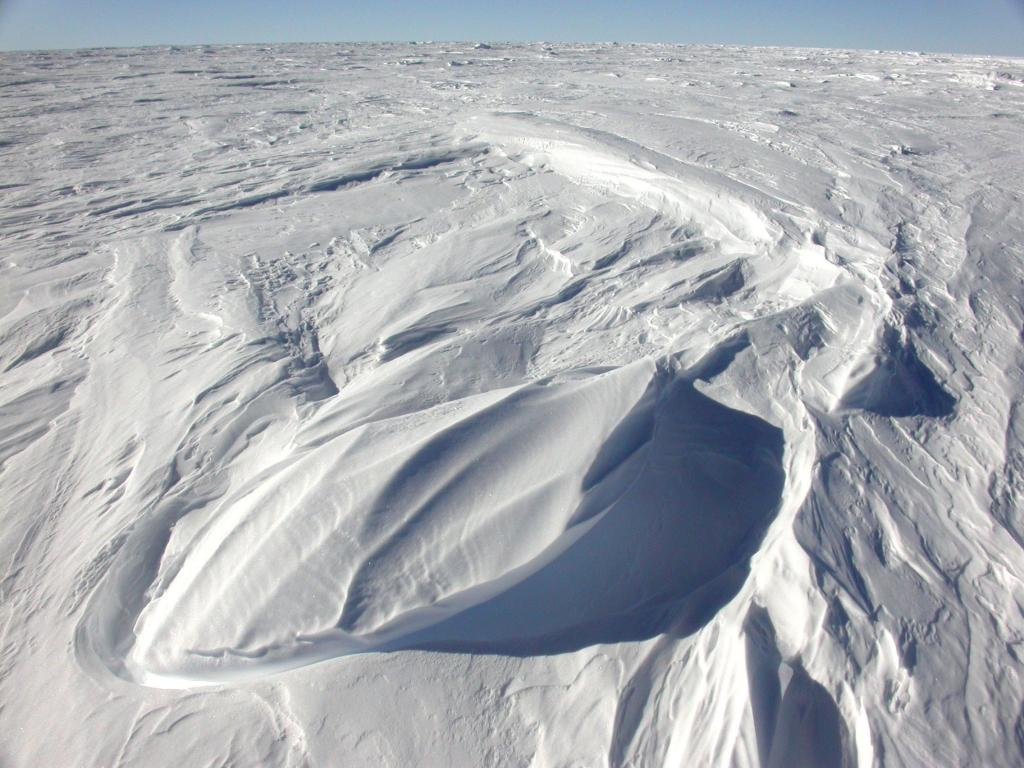 "This is one in a series of photos of sastrugi formed on the dunes. Image Credit:  NSIDC courtesy Ted Scambos and Rob Bauer. (<a href=""/cryosphere/gallery/photo/33105"">View photo detail.</a>) <br>"