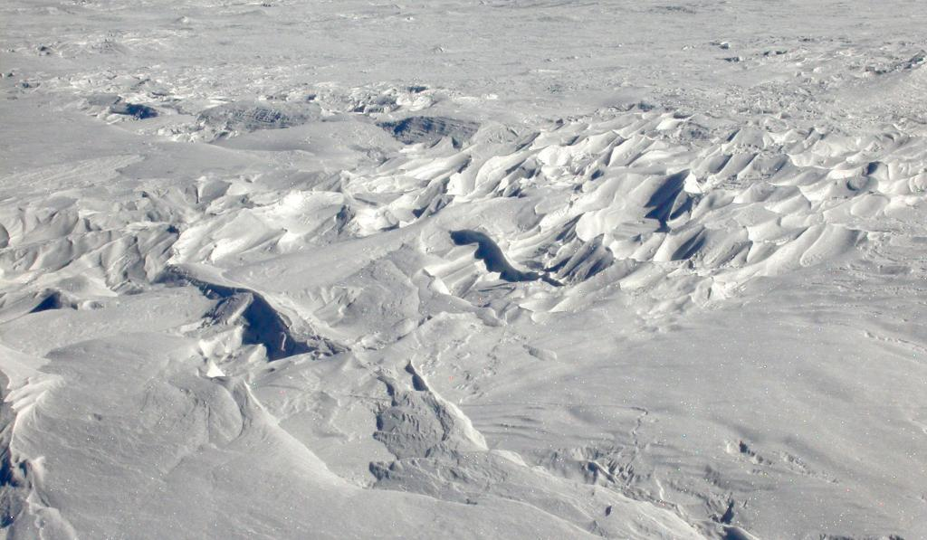 "This is one in a series of photos of sastrugi formed on the dunes. Image Credit:  NSIDC courtesy Ted Scambos and Rob Bauer. (<a href=""/cryosphere/gallery/photo/33099"">View photo detail.</a>) <br>"