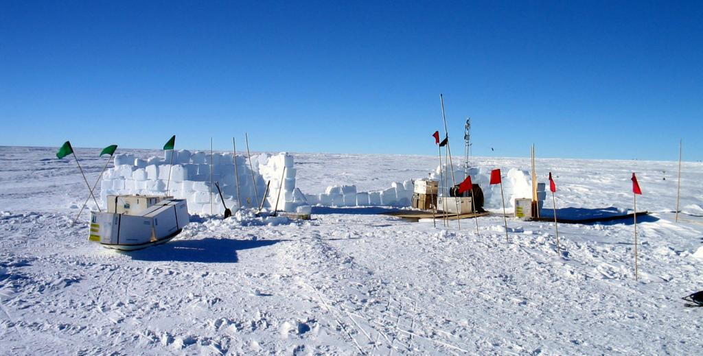 "One of several snow pits created during the expedition. Image Credit:  NSIDC courtesy Ted Scambos and Rob Bauer. (<a href=""/cryosphere/gallery/photo/33102"">View photo detail.</a>) <br>"