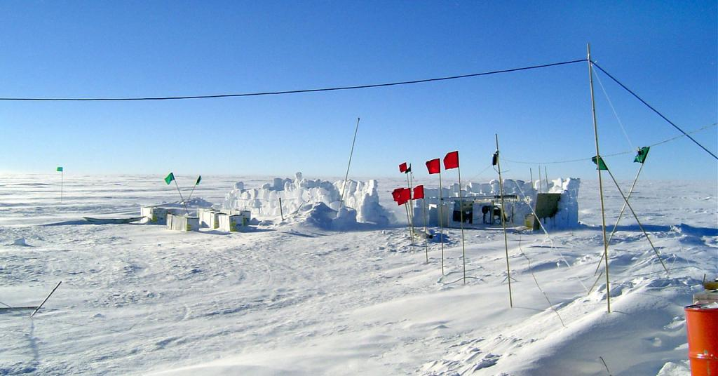 "One of several snow pits created during the expedition. Image Credit:  NSIDC courtesy Ted Scambos and Rob Bauer. (<a href=""/cryosphere/gallery/photo/33100"">View photo detail.</a>) <br>"