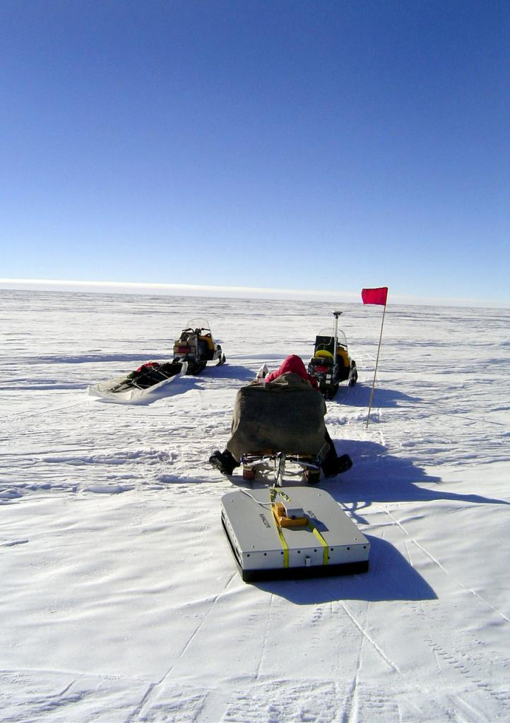 "The snowmobiles dragging the GPR/GPS system. Image Credit:  NSIDC courtesy Ted Scambos and Rob Bauer. (<a href=""/cryosphere/gallery/photo/33097"">View photo detail.</a>) <br>"