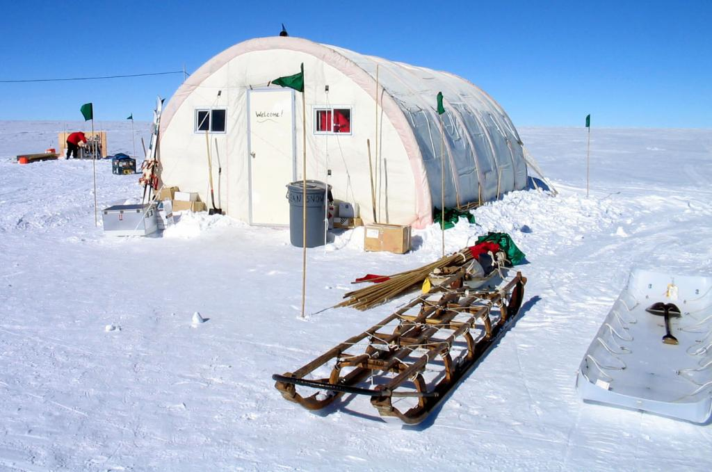 "The WeatherHaven and its surrounding equipment.  Welcome! Image Credit:  NSIDC courtesy Ted Scambos and Rob Bauer. (<a href=""/cryosphere/gallery/photo/33103"">View photo detail.</a>) <br>"