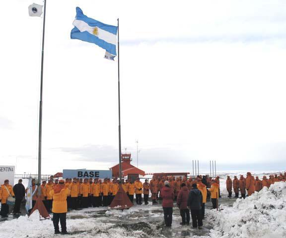 "Dia de la Antartida de Argentina, or Argentine Antarctic Day, commemorates the day that Argentina purchased Orcadas Base from William Bruce in 1902. The personnel of Marambio Station raise the Argentine flag in commemoration of this day. Photo Credit: Courtesy Ted Scambos and Rob Bauer, NSIDC  <a href=""http://nsidc.org/icetrek"">IceTrek Web site</a> (<a href=""/cryosphere/gallery/photo/33316"">View photo detail.</a>) <br>"