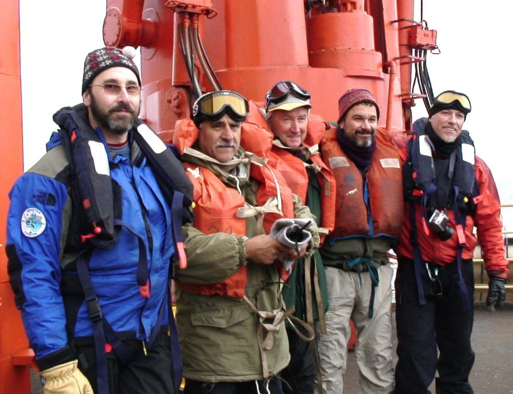 "From left to right: Ronald Ross, Pedro Skvarca, John Evans, Ted Scambos, and Rob Bauer. Photo Credit: Courtesy Ted Scambos and Rob Bauer, NSIDC  <a href=""http://nsidc.org/icetrek"">IceTrek Web site</a> (<a href=""/cryosphere/gallery/photo/33322"">View photo detail.</a>) <br>"