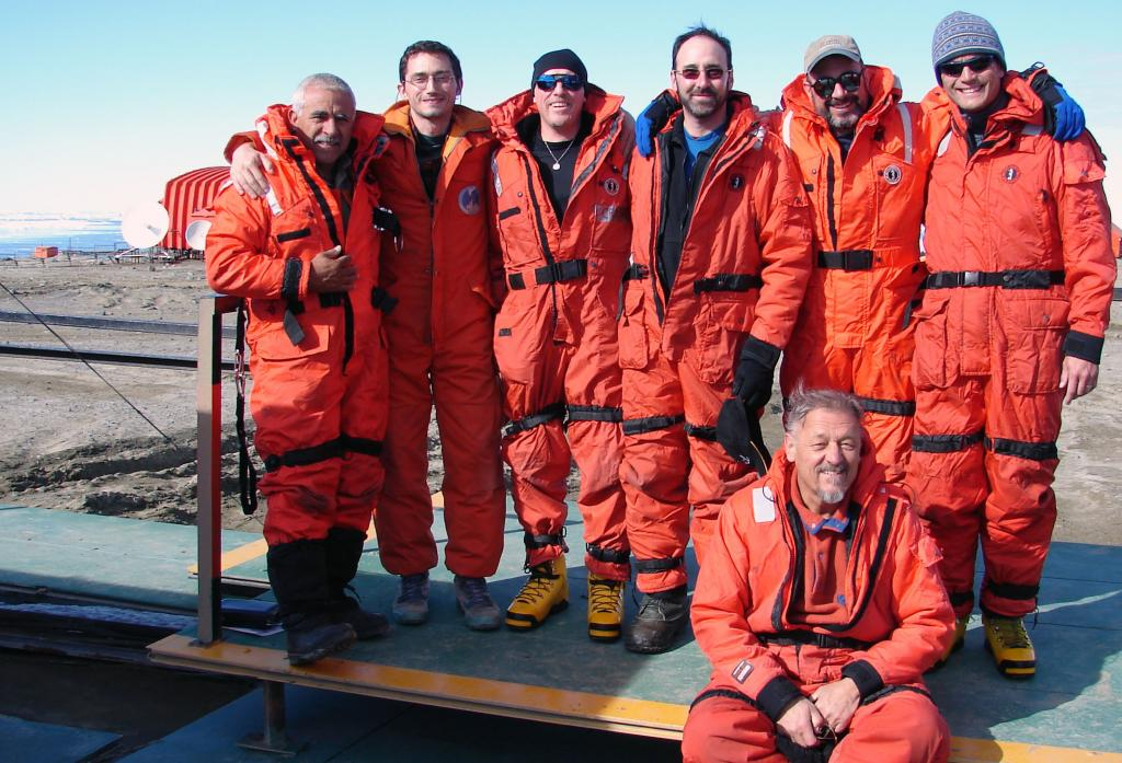 "From Left: Juan Carlos, Hernan, Rob Bauer, Ronald Ross, Ted Scambos, Jonathan Thom; below: Pedro Skvarca.The IceTrek Crew at Marambio Station. Photo Credit: Courtesy Ted Scambos and Rob Bauer, NSIDC  <a href=""http://nsidc.org/icetrek"">IceTrek Web site</a> (<a href=""/cryosphere/gallery/photo/33323"">View photo detail.</a>) <br>"