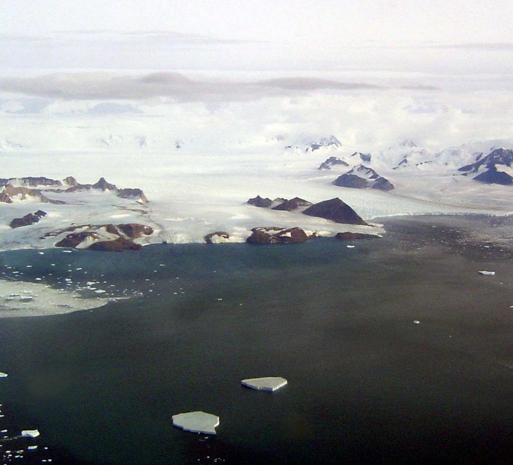 "This in-flight photo shows Drygalski Glacier on the Antarctic Coast. Photo Credit: Courtesy Ted Scambos and Rob Bauer, NSIDC  <a href=""http://nsidc.org/icetrek"">IceTrek Web site</a> (<a href=""/cryosphere/gallery/photo/32897"">View photo detail.</a>) <br>"