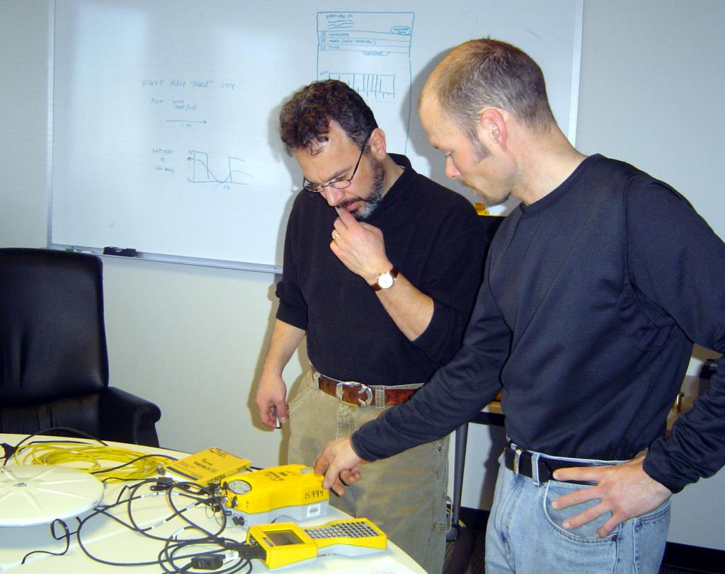 "From Left: Ted Scambos and Thomas Nylen testthe GPS equipment prior to the IceTrek expedition. Photo Credit: Courtesy Ted Scambos and Rob Bauer, NSIDC  <a href=""http://nsidc.org/icetrek"">IceTrek Web site</a> (<a href=""/cryosphere/gallery/photo/33330"">View photo detail.</a>) <br>"
