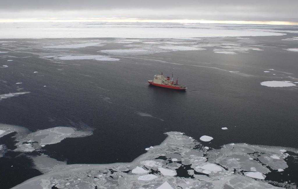 "This helicopter view shows the Irizar, surrounded by the Antarctic waters. Photo Credit: Courtesy Ted Scambos and Rob Bauer, NSIDC  <a href=""http://nsidc.org/icetrek"">IceTrek Web site</a> (<a href=""/cryosphere/gallery/photo/32909"">View photo detail.</a>) <br>"