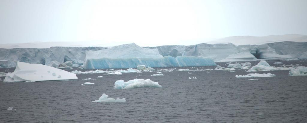 "Icebergs melt during the southern hemisphere summer. Photo Credit: Courtesy Ted Scambos and Rob Bauer, NSIDC  <a href=""http://nsidc.org/icetrek"">IceTrek Web site</a> (<a href=""/cryosphere/gallery/photo/32924"">View photo detail.</a>) <br>"