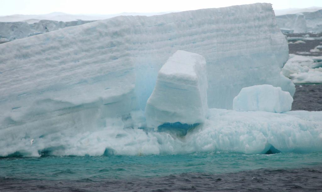 "Icebergs melt during the southern hemisphere summer. Photo Credit: Courtesy Ted Scambos and Rob Bauer, NSIDC  <a href=""http://nsidc.org/icetrek"">IceTrek Web site</a> (<a href=""/cryosphere/gallery/photo/32922"">View photo detail.</a>) <br>"