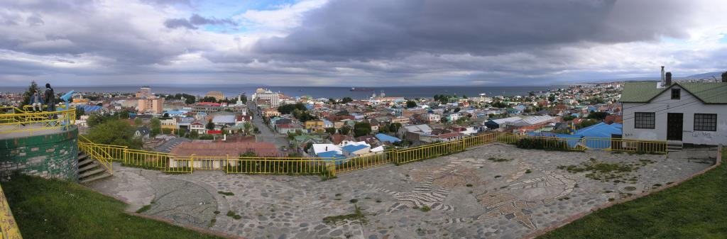 "Puenta Arenas, Chile (pictured here in panorama), is a common launch point for Antarctic expeditions. Photo Credit: Courtesy Ted Scambos and Rob Bauer, NSIDC  <a href=""http://nsidc.org/icetrek"">IceTrek Web site</a> (<a href=""/cryosphere/gallery/photo/33386"">View photo detail.</a>) <br>"