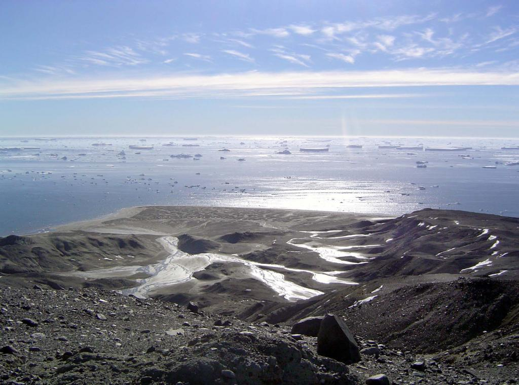 "Antarctic waters sparkle from Marambio Base on Seymour Island. Photo Credit: Courtesy Ted Scambos and Rob Bauer, NSIDC (<a href=""/cryosphere/gallery/photo/33375"">View photo detail.</a>) <br>"