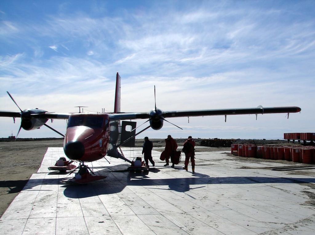"This Twin Otter plane transported the IceTrek team to various sites along the Antarctica Peninsula during the IceTrek expedition. <a href=""http://nsidc.org/icetrek"">IceTrek Web site</a> (<a href=""/cryosphere/gallery/photo/33387"">View photo detail.</a>) <br>"