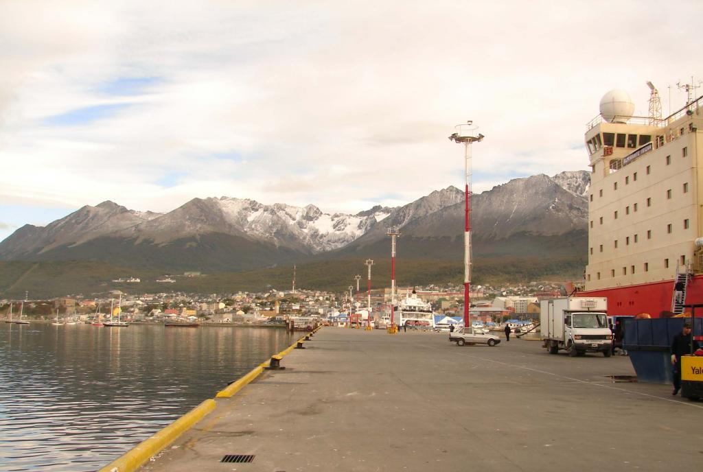 "This dock leads up to Ushuaia. <a href=""http://nsidc.org/icetrek"">IceTrek Web site</a> (<a href=""/cryosphere/gallery/photo/33391"">View photo detail.</a>) <br>"