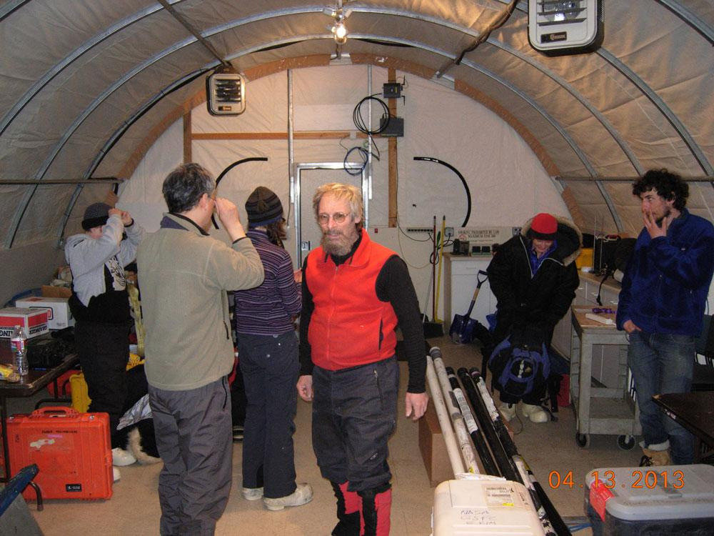 "Researchers check their gear during the 2013 Arctic Observing Network (Snownet) project in Alaska. (<a href=""/cryosphere/gallery/photo/34112"">View photo detail.</a>) <br>"