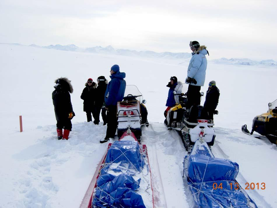 "Researchers prepare to travel with their instruments using snowmobiles and sleds during the 2013 Arctic Observing Network (Snownet) project in Alaska. (<a href=""/cryosphere/gallery/photo/34109"">View photo detail.</a>) <br>"