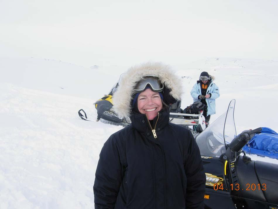 "Researchers pose next to their snowmobiles during the 2013 Arctic Observing Network (Snownet) project in Alaska's North Slope. (<a href=""/cryosphere/gallery/photo/34111"">View photo detail.</a>) <br>"
