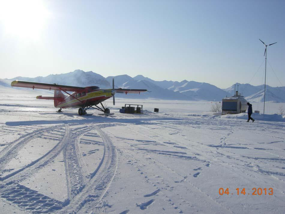"A propeller plane is on standby during the 2013 Arctic Observing Network (Snownet) fieldwork in Alaska. (<a href=""/cryosphere/gallery/photo/34113"">View photo detail.</a>) <br>"