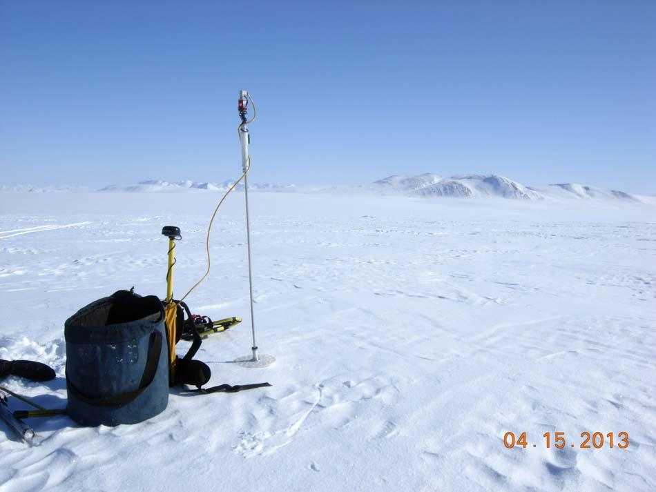 "Brooks Range provides a backdrop for instruments used in snow cover measurement during the 2013 Arctic Observing Network (Snownet) fieldwork in Alaska. (<a href=""/cryosphere/gallery/photo/34119"">View photo detail.</a>) <br>"