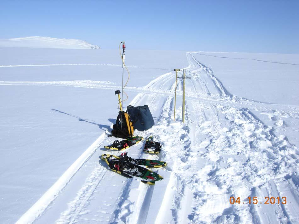 "Snowshoes are indispensable when setting up instruments to measure snow cover during the 2013 Arctic Observing Network (Snownet) fieldwork in Alaska. (<a href=""/cryosphere/gallery/photo/34117"">View photo detail.</a>) <br>"