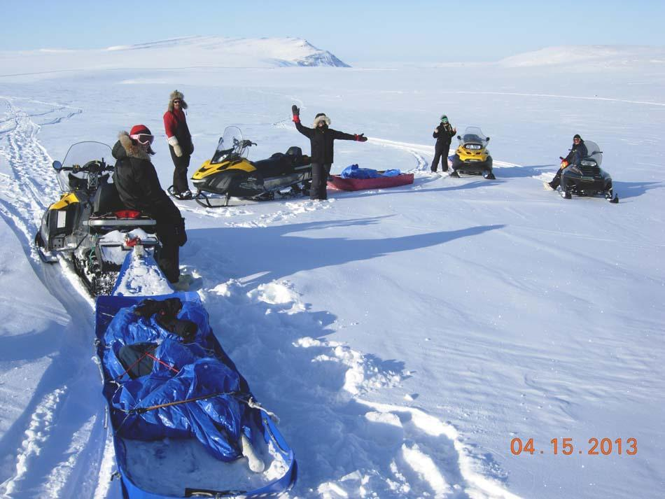 "Researchers prepare their snowmobiles during the 2013 Arctic Observing Network (Snownet) field project in Alaska's North Slope. (<a href=""/cryosphere/gallery/photo/34121"">View photo detail.</a>) <br>"