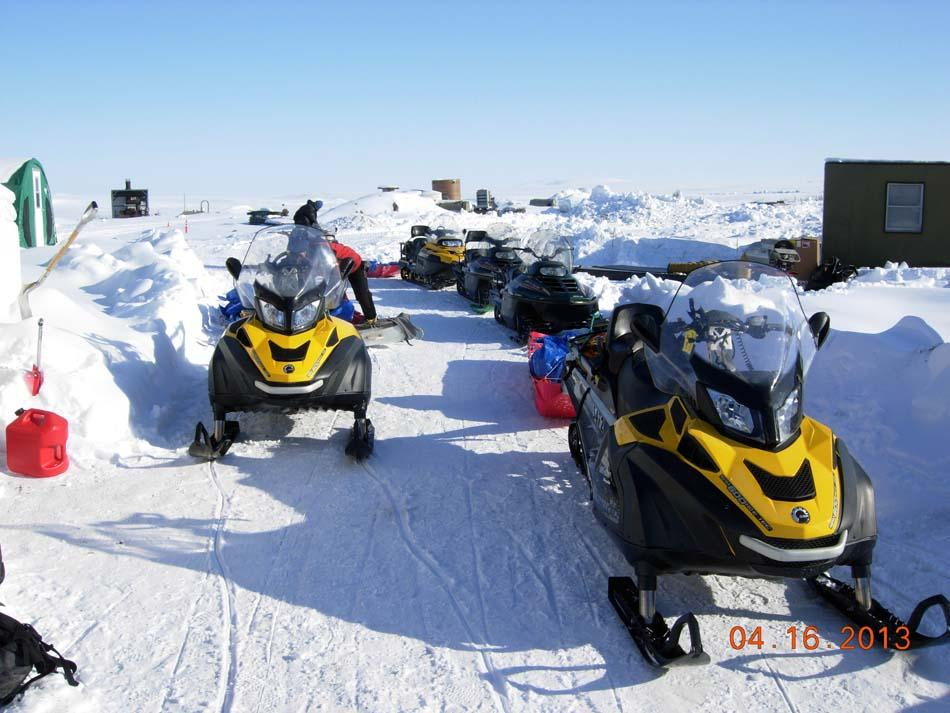 "Snowmobiles stand by at field camp during the 2013 Arctic Observing Network (Snownet) project in Alaska's North Slope. (<a href=""/cryosphere/gallery/photo/34124"">View photo detail.</a>) <br>"