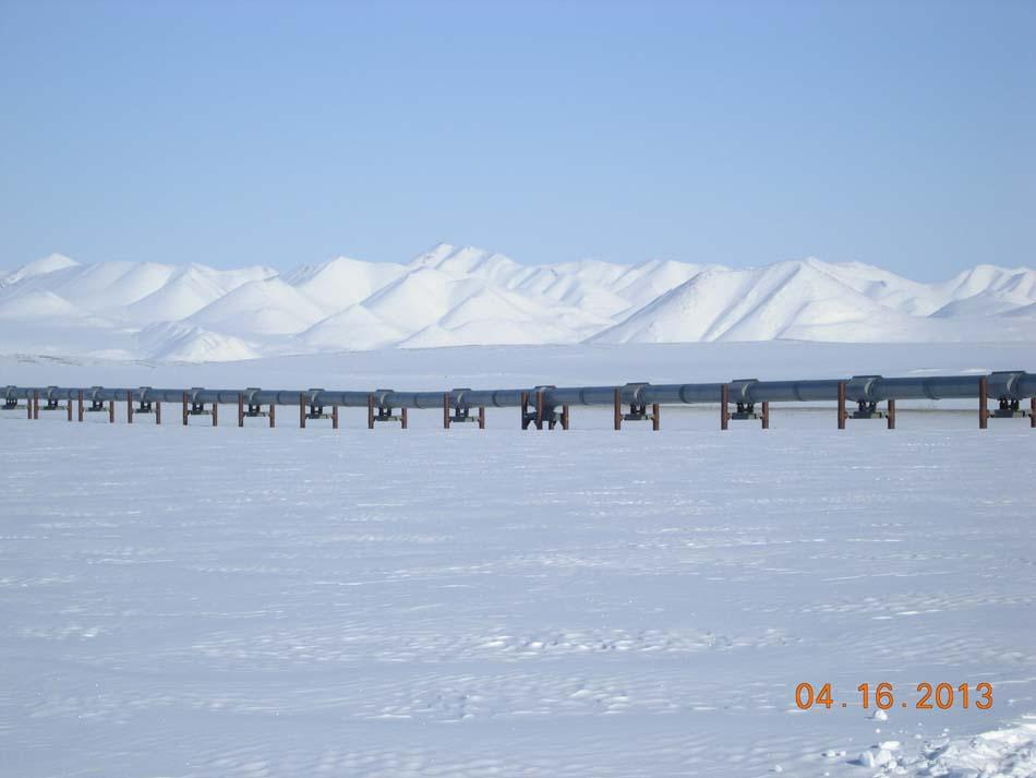"The Alaska Pipeline transports oil 800 miles from the North Slope to Valdez, Alaska. (<a href=""/cryosphere/gallery/photo/34123"">View photo detail.</a>) <br>"