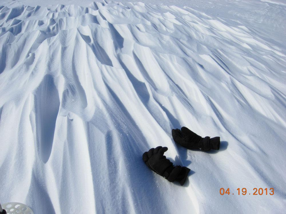"A researcher's winter gloves provide a sense of scale to sastrugi, sharp irregular grooves or ridges formed on a snow surface by wind erosion, seen during the 2013 Arctic Observing Network (Snownet) project. (<a href=""/cryosphere/gallery/photo/34125"">View photo detail.</a>) <br>"