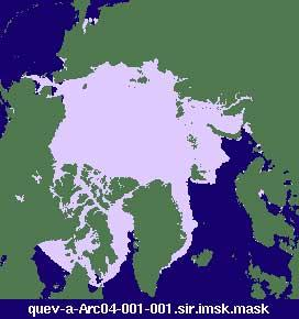 "Arctic sea ice image produced from daily-averaged QuikSCAT sigma-0 measurements from NASA SCP Arctic and Antarctic Ice Extent from QuikSCAT, 1999-2004 Dataset. (<a href=""/cryosphere/gallery/photo/33619"">View photo detail.</a>) <br>"