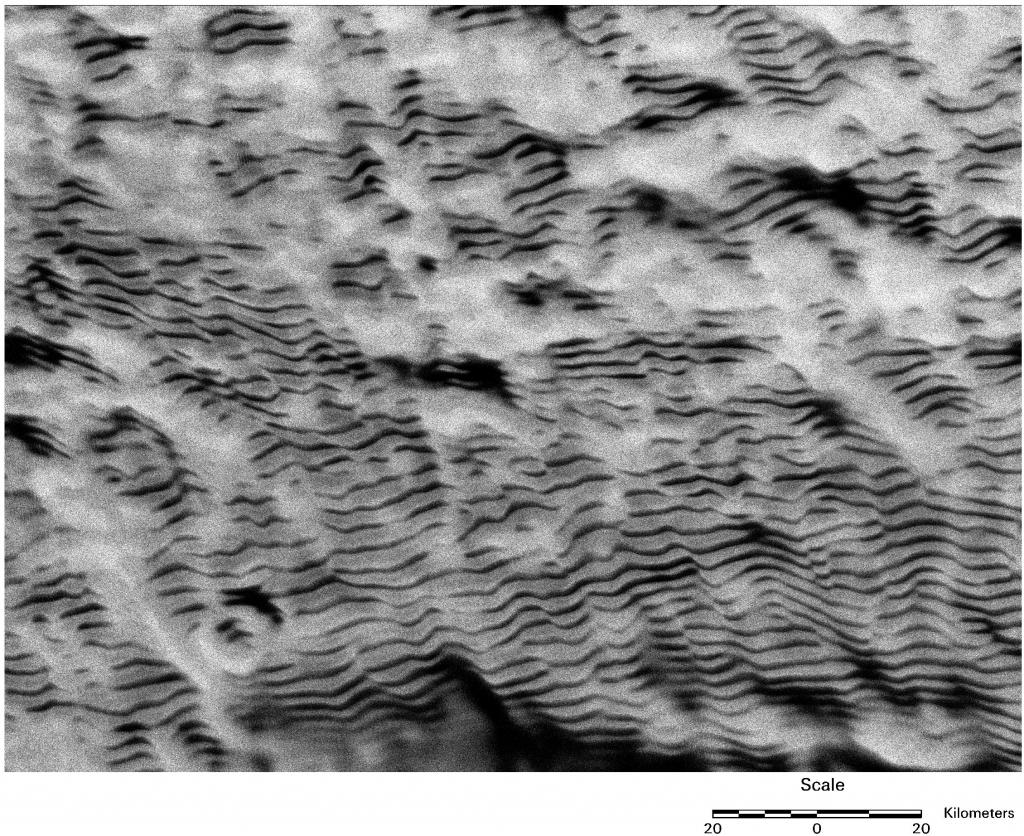 "Extensive snow dunes wrinkle the surface of large parts of East and West Antarctica. The dunes are up to 100 kilometers long and separated by 2 to 4 kilometers, but only a few meters high. Comparison of modern satellite images with images acquired four decades earlier reveals that the dunes are nearly motionless. (<a href=""/cryosphere/gallery/photo/33615"">View photo detail.</a>) <br>"