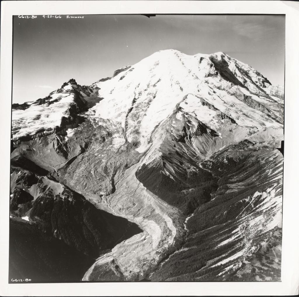 "Emmons Glacier, 22 September 1966, photographed by Austin Post. Image Credit:  Courtesy NSIDC Glacier Photo Collection <a href=""http://nsidc.org/data/glacier_photo/"">NSIDC Glacier Photo Collection</a> (<a href=""/cryosphere/gallery/photo/33421"">View photo detail.</a>) <br>"