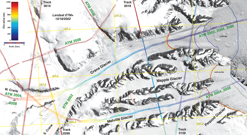"This Landsat image of Crane Glacier on the Antarctic Peninsula is overlain with ICESat and Airborne Topopgraphic Mapper (ATM) tracks. ATM is a lidar sensor that is now part of the IceBridge mission. Over time, ICESat and ATM measurements, together with visible imagery, can detect thinning of the ice and accelerated flow of ice into the ocean. Large glaciers such as Crane have the potential to contribute significantly to sea level rise. (<a href=""/cryosphere/gallery/photo/33914"">View photo detail.</a>) <br>"