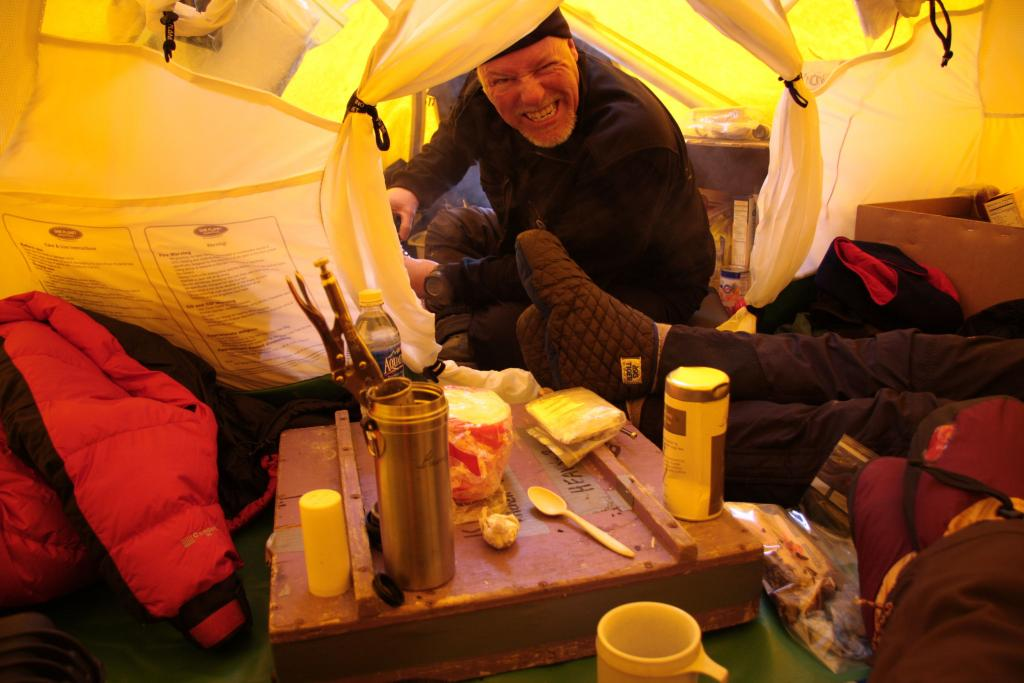 "Rob Bauer smiles in the cook tent during the 2009/2010 LARISSA expedition (<a href=""/cryosphere/gallery/photo/33927"">View photo detail.</a>) <br>"