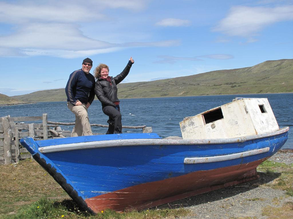 "Rob Bauer and Erin Pettit of UAF pose on a boat near Punta Arenas, Chile. (<a href=""/cryosphere/gallery/photo/33925"">View photo detail.</a>) <br>"