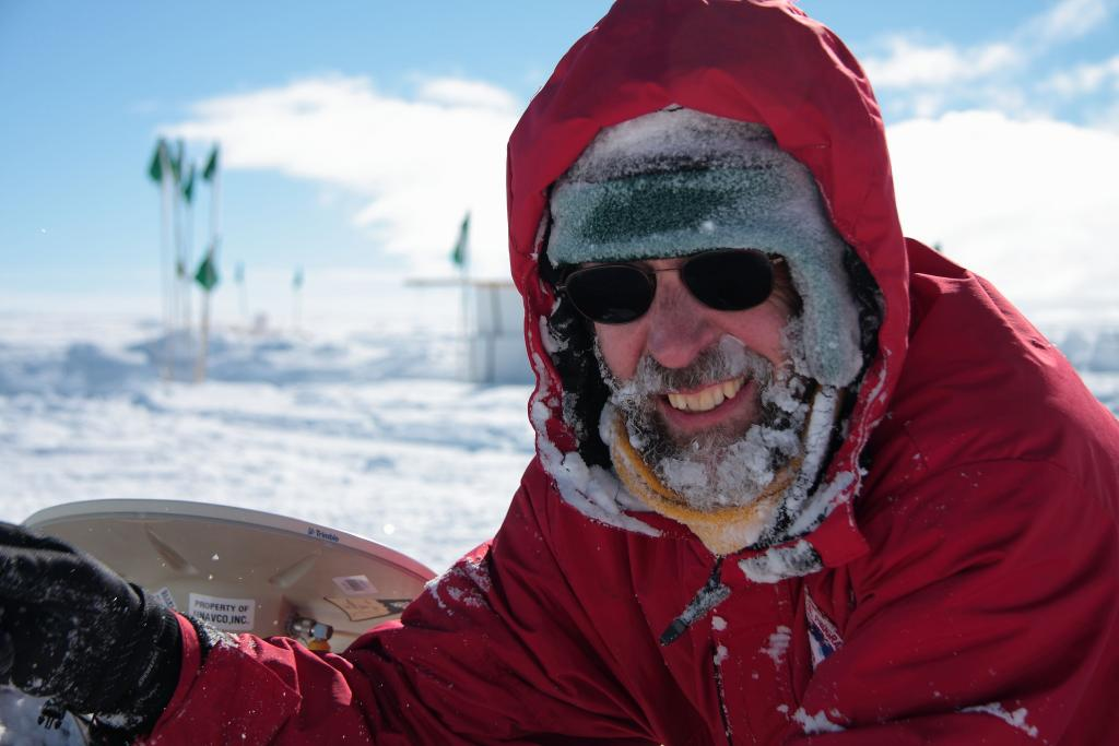 "Terry Haran takes a break from setting up AMIGOS stations to pose for the camera. (<a href=""/cryosphere/gallery/photo/33918"">View photo detail.</a>) <br>"