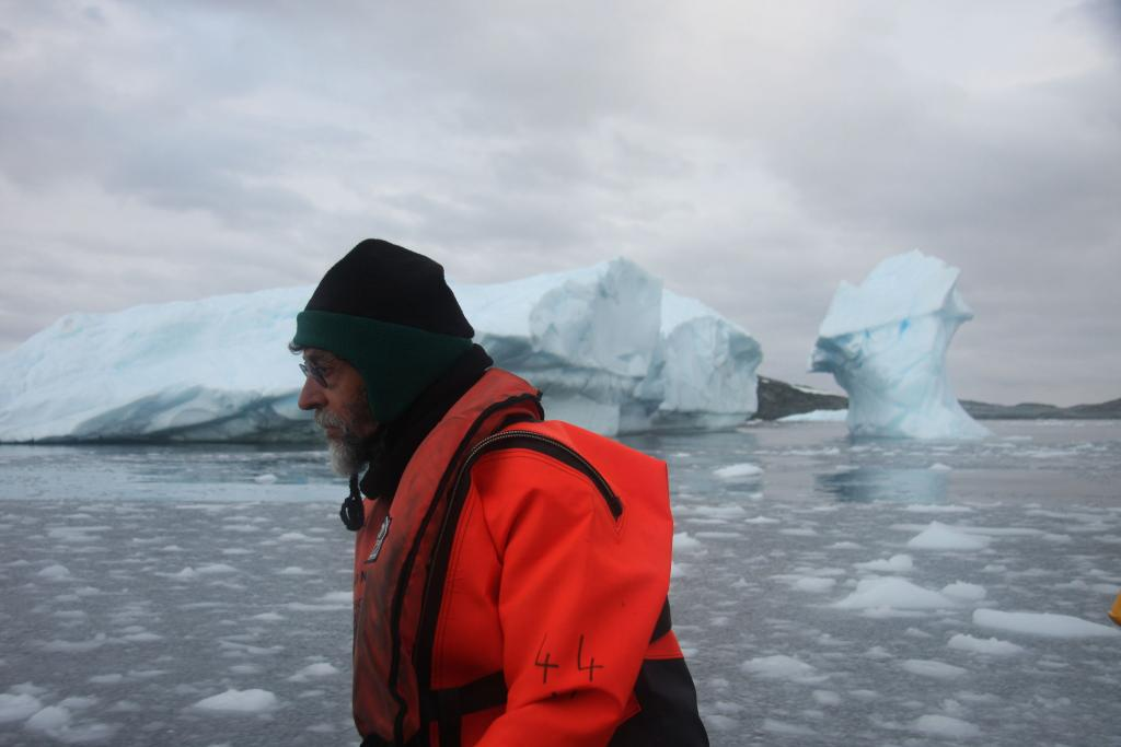 "Terry Haran wears a cold-water survival suit for a boat trip near the Antarctic Peninsula (<a href=""/cryosphere/gallery/photo/33005"">View photo detail.</a>) <br>"