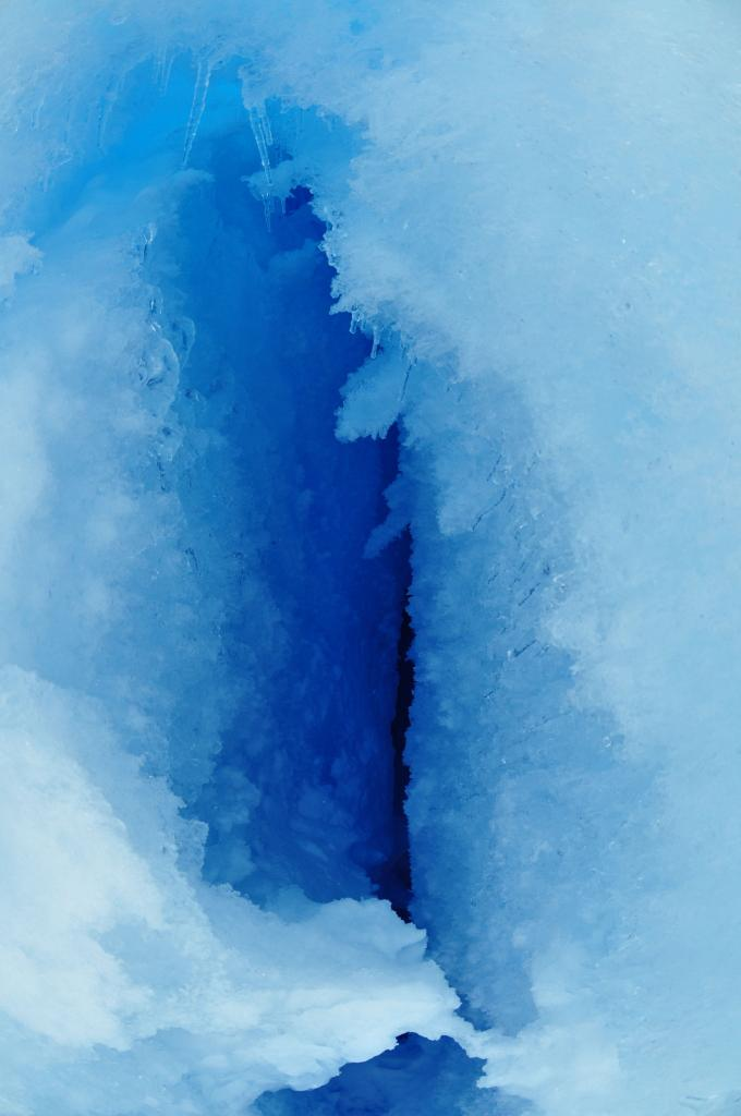 "This photo looks down a fracture in the ice. (<a href=""/cryosphere/gallery/photo/32995"">View photo detail.</a>) <br>"