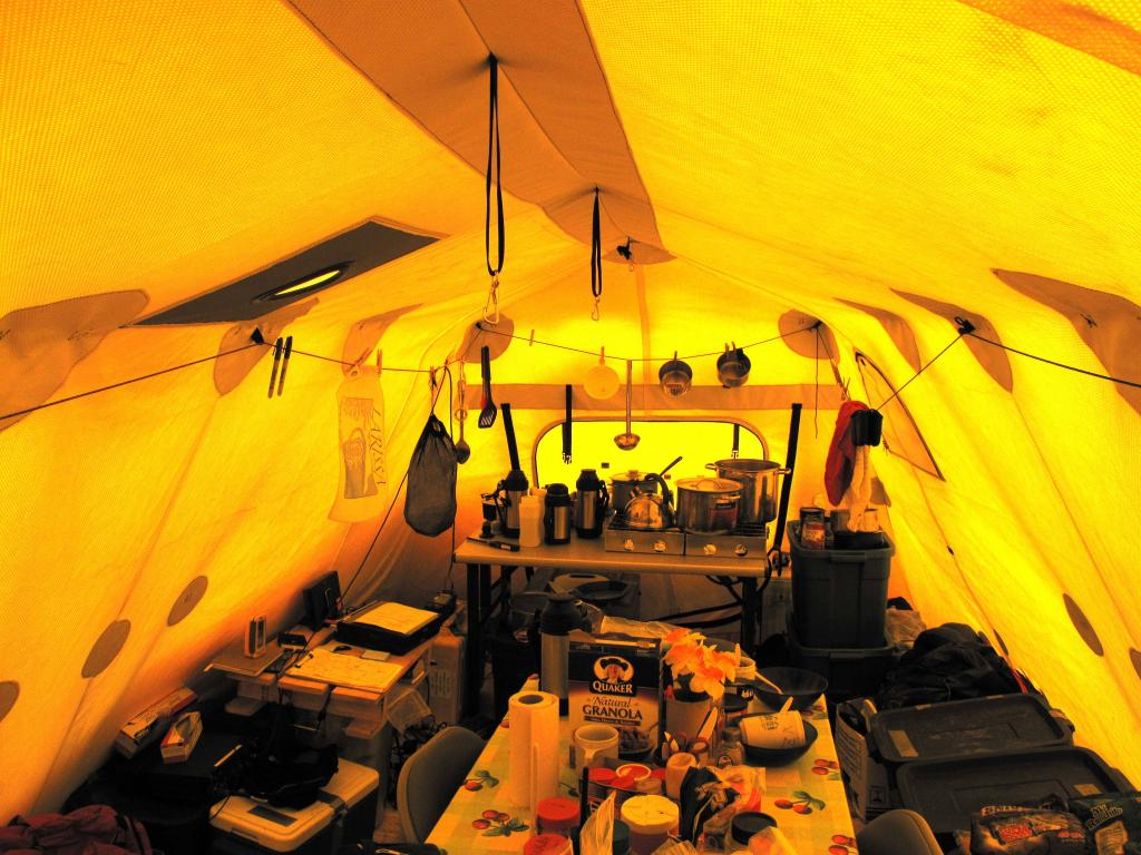 "This tent served as the kitchen for the team during the 2009-2010 LARISSA expedition. (<a href=""/cryosphere/gallery/photo/33946"">View photo detail.</a>) <br>"