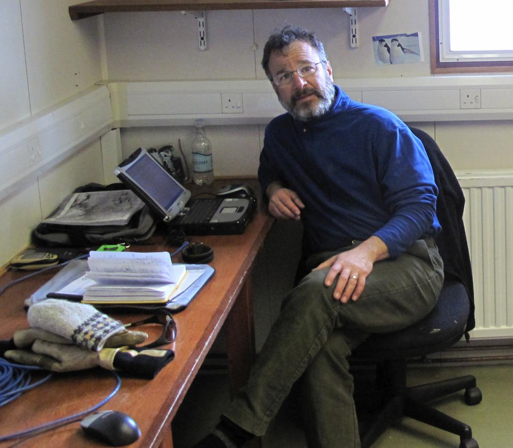 "Ted Scambos works in an office at McMurdo Station, Antarctica (<a href=""/cryosphere/gallery/photo/32996"">View photo detail.</a>) <br>"