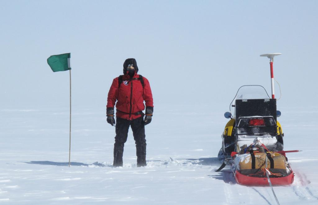 "A scientist poses next to the radar sled during the LARISSA expedition in Antarctica (<a href=""/cryosphere/gallery/photo/32998"">View photo detail.</a>) <br>"