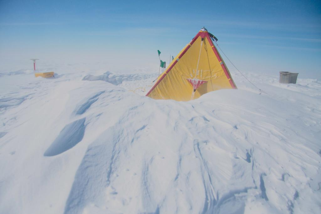 "Following a storm, the tents were buried in snow. (<a href=""/cryosphere/gallery/photo/33949"">View photo detail.</a>) <br>"