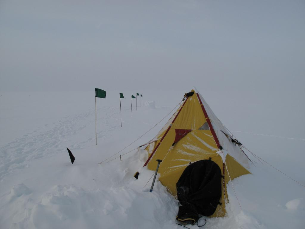 "Multiple storms delayed the LARISSA glaciology team and trapped them in tents at their research sites (<a href=""/cryosphere/gallery/photo/33948"">View photo detail.</a>) <br>"