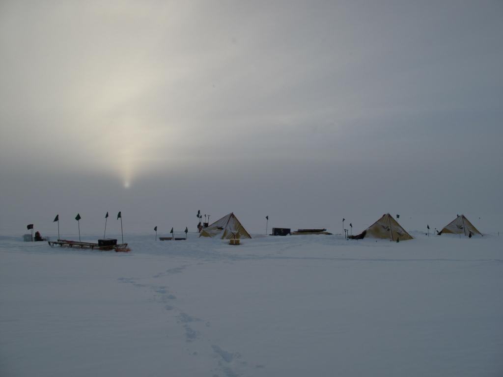 "Multiple storms delayed the LARISSA glaciology team and trapped them in tents at their research sites (<a href=""/cryosphere/gallery/photo/33935"">View photo detail.</a>) <br>"