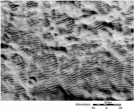 "This synthetic aperture radar (SAR) image of the Antarctic megadunes was taken by the Canadian Radarsat satellite. (<a href=""/cryosphere/gallery/photo/32971"">View photo detail.</a>) <br>"